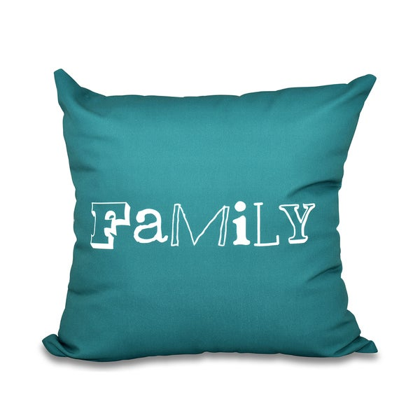 Family Word Print 18-inch Throw Pillow