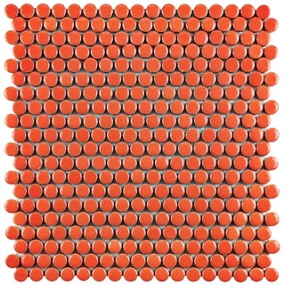 SomerTile 11.25x11.75-inch Galactic Penny Round Orange Porcelain Mosaic Floor and Wall Tile (Case of 10)