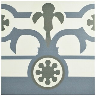 SomerTile 9.5x9.5-inch Hidraulic Ducados Cenefa Porcelain Floor and Wall Tile (Case of 16)
