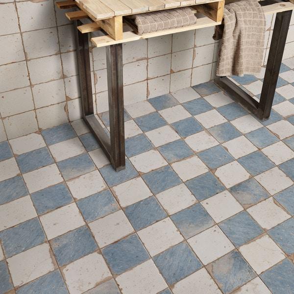 Somertile 13x13 inch artesano damero azul ceramic floor for 13x13 floor tiles