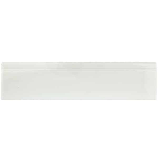 SomerTile 3.25x12.375-inch Zocalo Glossy White Ceramic Base Trim Molding (25 tiles) 17702958