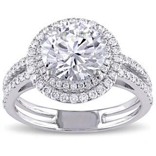 Miadora 14k White Gold 2 5/8ct TDW Diamond Double Halo Ring (I-J, I1-I2)