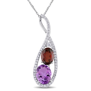 Miadora 14k White Gold Amethyst Garnet White Sapphire and 1/3ct TDW Diamond Teardrop Infinity Necklace (G-H, SI1-SI2)