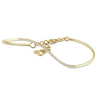 Miadora 14k Yellow Gold 1/6ct TDW Diamond Clover Bangle Bracelet(G-H, SI1-SI2)