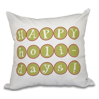Happy Holidays Too Word Print 18-inch Throw Pillow