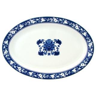 Asian Garden Oval Platter Blue and White