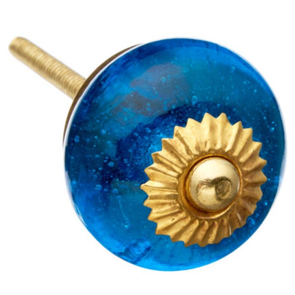 Blue Bubbles Glass Drawer/ Door/ Cabinet Knobs (Pack of 6)