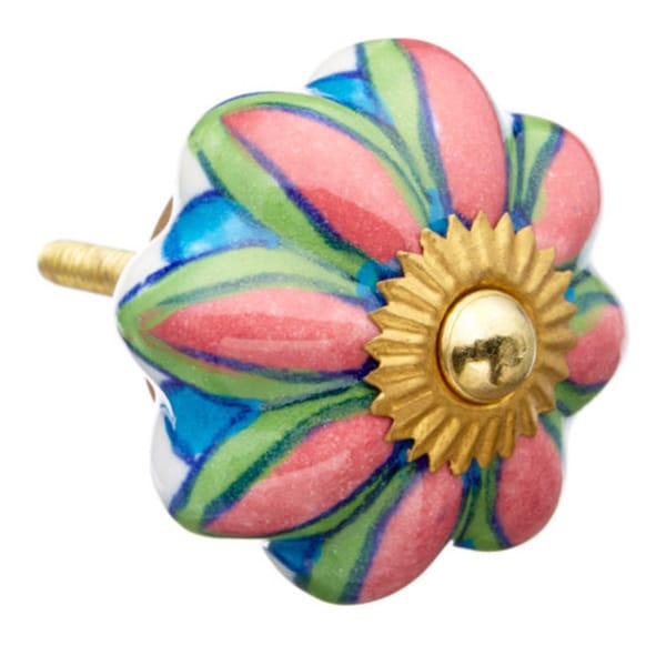 Pink/ Blue/ Green Flower Ceramic Knob (Pack of 6)