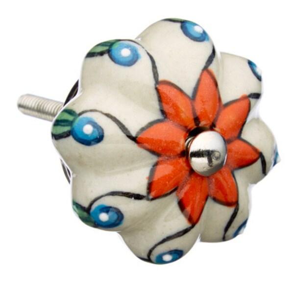 Orange with White Raised Dots Ceramic Drawer/ Door/ Cabinet Pull Knob (Pack of 6)