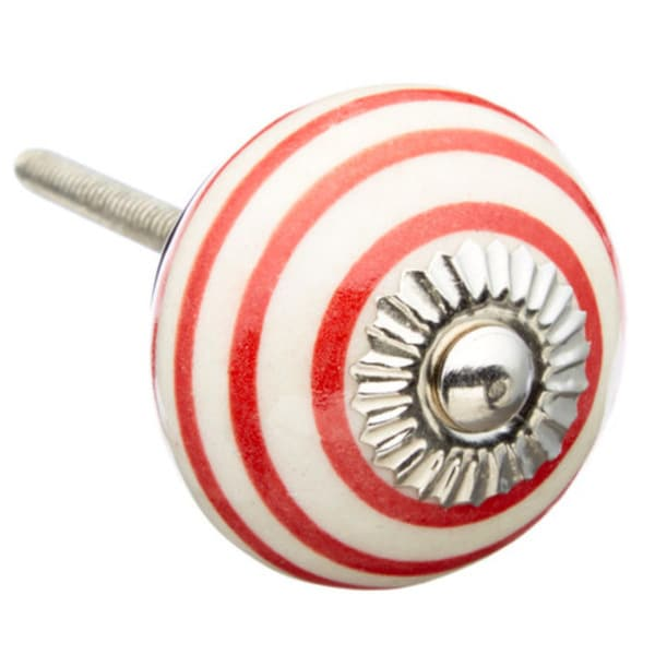 Red Strips Ceramic Drawer/ Door/ Cabinet Knob (Pack of 6)