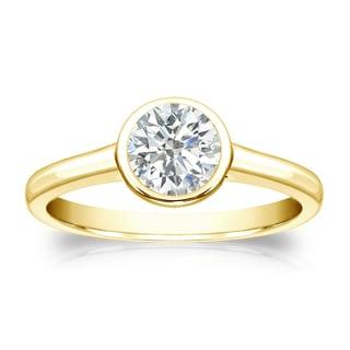 Auriya 18k Gold 1/2ct TDW Round Diamond Solitaire Bezel Engagement Ring (I-J, SI1-SI2)