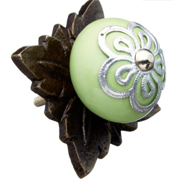 Green with Metal Back Plate Flower Knobs (Pack of 6)