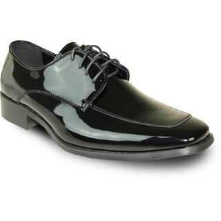 VANGELO Men Dress Shoe TUX-3 Oxford Formal Tuxedo for Prom & Wedding Shoe Black Patent - Wide Width Available
