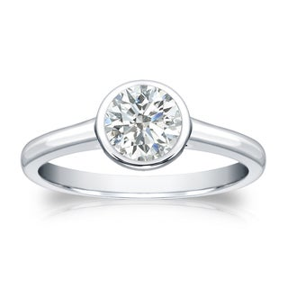 Auriya 18k Gold 1/2ct TDW Round Diamond Solitaire Bezel Engagement Ring (I-J, SI2-SI3)