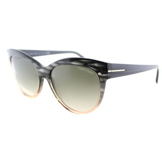 Tom Ford Womens TF 430 Lily 20P Grey Peach Plastic Cat Eye Sunglasses