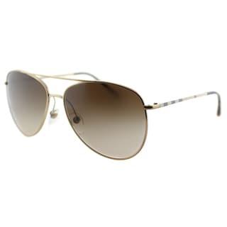 Burberry BE 3072 118913 Gold Metal Aviator Dark Brown Gradient Lens Sunglasses