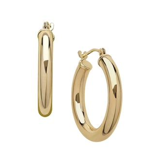 14k Yellow Gold Polished 3x20 Hoop Earrings
