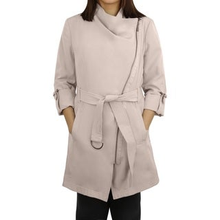 Michael MIchael Kors Sand Asymmetrical Zip Trench Coat