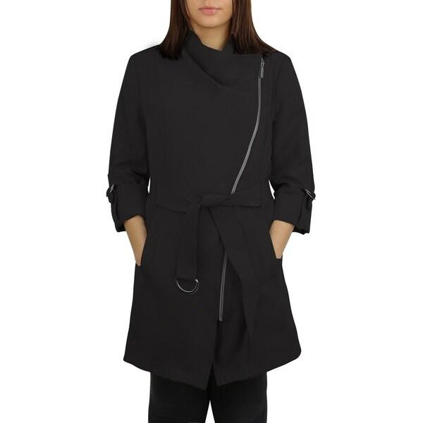 Michael Michael Kors Black Asymmetrical Zip Trench Coat 17704159