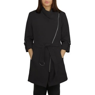 Michael Michael Kors Black Asymmetrical Zip Trench Coat