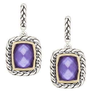14k Gold and Antiqued Sterling Silver 2ct TGW Purple Haze Mother of Pearl Dangle Earrings