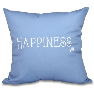 Coastal Happiness Word Print 16-inch Throw Pillow