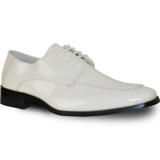 VANGELO Men Dress Shoe TUX-3 Oxford Formal Tuxedo for Prom & Wedding Shoe Ivory Patent - Wide Width Available
