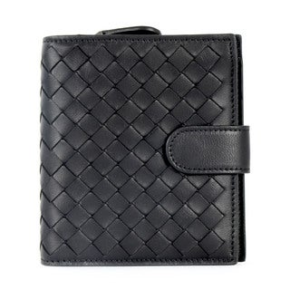 Bottega Veneta Black Leather Woven Bifold Wallet