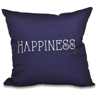 Nautical Happiness Word Print 16-inch Throw Pillow