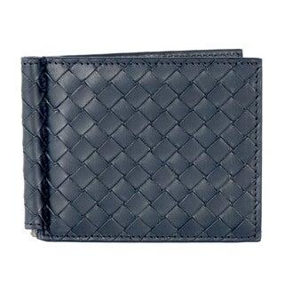 Bottega Veneta Blue Leather Woven Bifold Wallet