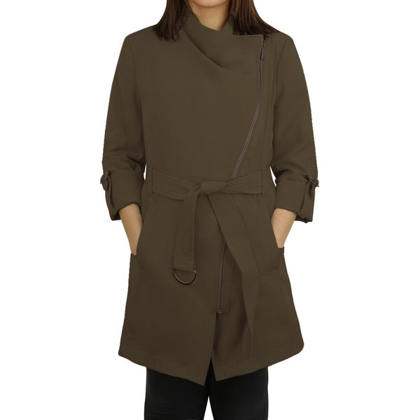 Michael Michael Kors Olive Asymmetrical Zip Trench Coat