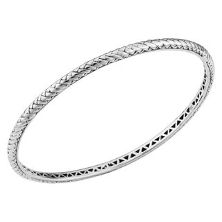 Sterling Silver Cawi 8 inch Woven Bangle Bracelet (Indonesia)