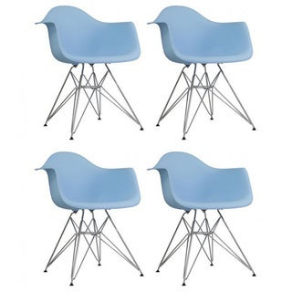 Set of 4 Contemporary Retro Molded Eames Style Blue Accent Plastic Dining Armchair with Steel Eiffel Legs
