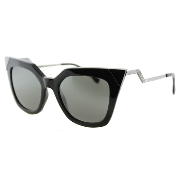 Fendi FF 0060 KKL Black Dark Ruthenium Plastic Silver Mirror Lens Sunglasses