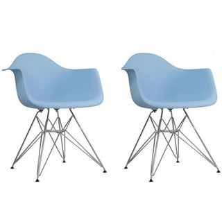 Set of 2 Contemporary Retro Molded Eames Style Blue Accent Plastic Dining Armchair with Steel Eiffel Legs