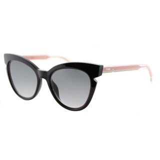 Fendi FF 0132 N7A Black And Crystal Pink Grey Gradient Lens Plastic Sunglasses