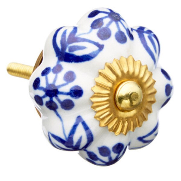 Blue Leaf Ceramic Drawer/ Door/ Cabinet Knobs (Pack of 6)