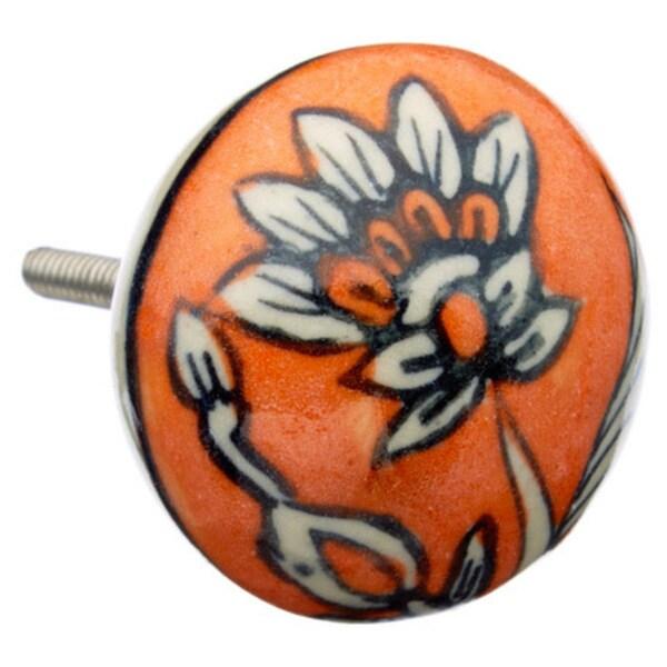 Orange Floral Ceramic Drawer/ Door/ Cabinet Pull Knob (Pack of 6)