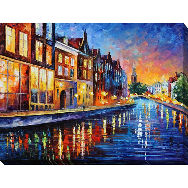 Leonid Afremov 'Amsterdam, Sunday Night' Giclee Print Canvas Wall Art
