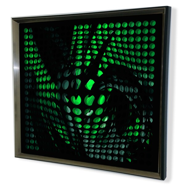 Designart Modern Black Tinted Mirror Green Shade Acrylic Vortex Mirror