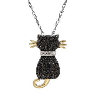 Sterling Silver and 14k Yellow Gold 1/5ct Black Diamond Cat Pendant