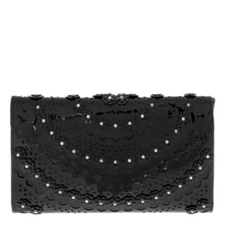 Alaia Floral-Appliqued Studded Laser-Cut Clutch