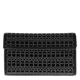 Alaia Small Suede Studded Perforated Fold-Over Clutch