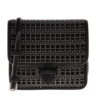 Alaia Suede Studded Perforated Crossbody Bag