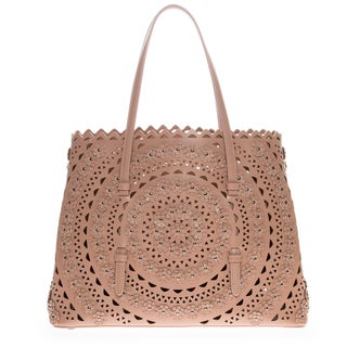 Alaia Floral-Appliqued Studded Laser-Cut Nude Pink Tote