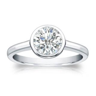 Auriya 18k Gold 1ct TDW Round-cut Diamond Solitaire Bezel Engagement Ring (I-J, SI2-SI3)