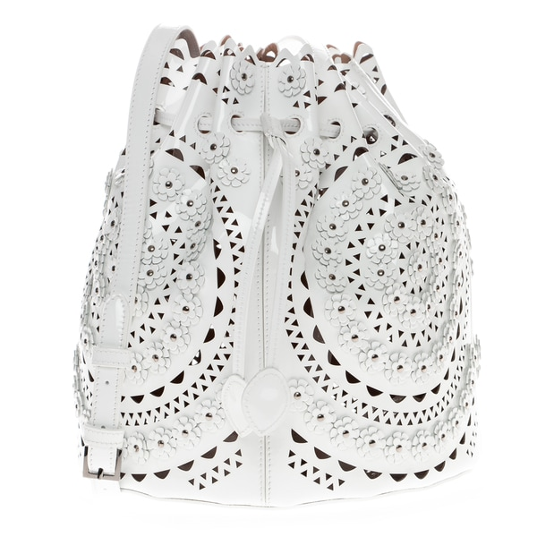 Alaia Floral-Appliqued Studded Laser-Cut White Leather Bucket Bag