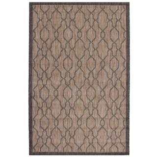 Ecarpetgallery Illusion Beige/ Black Rug (4'11 x 7'7)