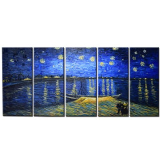 Large Hand-painted Van Gogh 'Starry Night Over the Rhone' Canvas Art