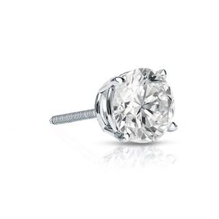 Auriya 14k Gold 1/4ct TDW Round-Cut Diamond 4-Prong Screw-Back Single Stud Earring (I-J, SI2-SI3)